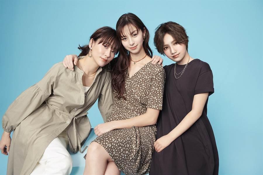 GU虛擬模特兒「YU」與全球品牌代言人「中条彩未」及演員「水川麻美」共同演繹春夏洋裝系列新品,三人分別提供不同身形女孩更實用的穿搭提案。(圖/品牌提供)