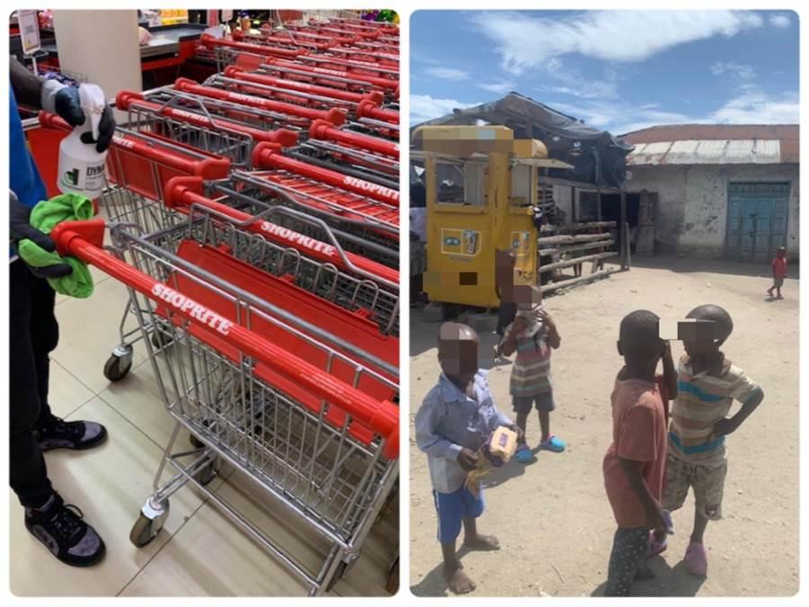 網友在PTT上分享,烏干達的小孩看見人會用衣物掩住口鼻,以有限的資源,努力防疫。(圖/翻攝自PTT)