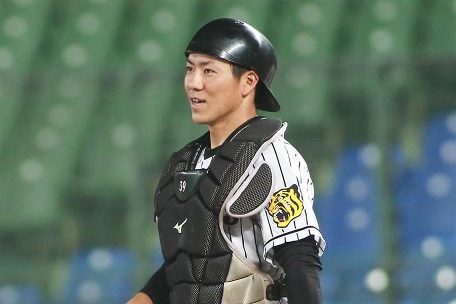 阪神虎確診捕手長坂拳彌,曾在2017年、2018來台打冬盟。(資料照/中職提供)
