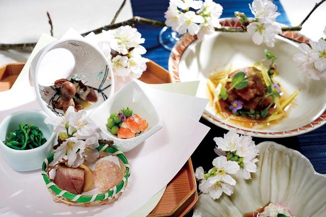 全新春季會席料理,從前菜開始就充分展現初春的意境。圖/日勝生加賀屋提供