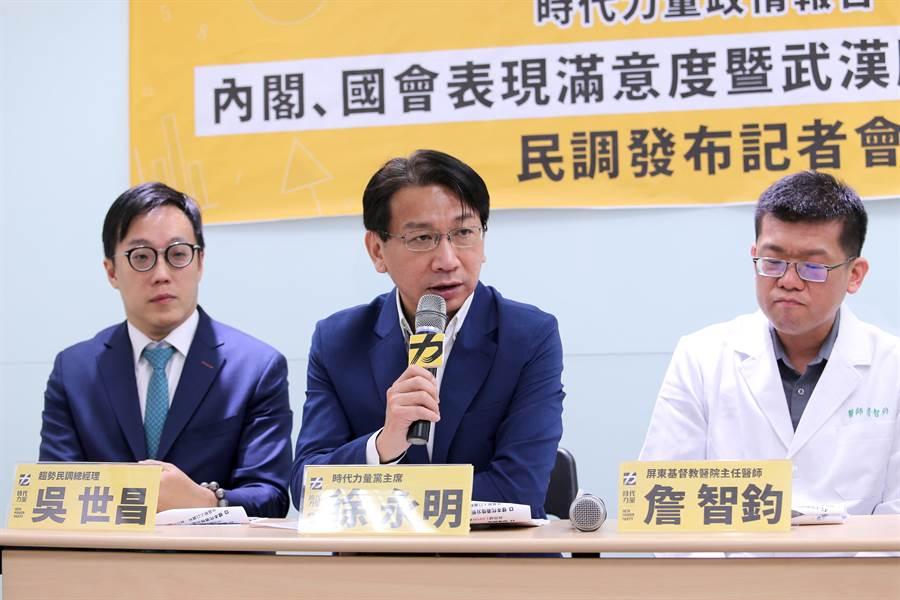 時力黨主席徐永明(中)表示,民眾普遍支持將護照上的「China」字樣改為「Taiwan」。(黃世麒攝)