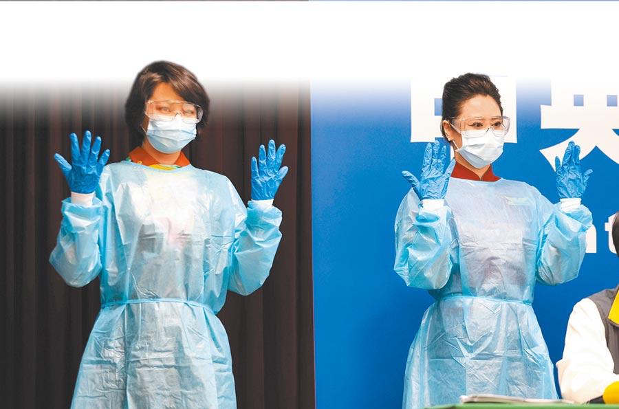 空服員防護裝備包括外科口罩、護目裝備(平光眼鏡或護目鏡)、防水隔離衣與防水手套,預計每天要1000套。(中央流行疫情指揮中心提供)