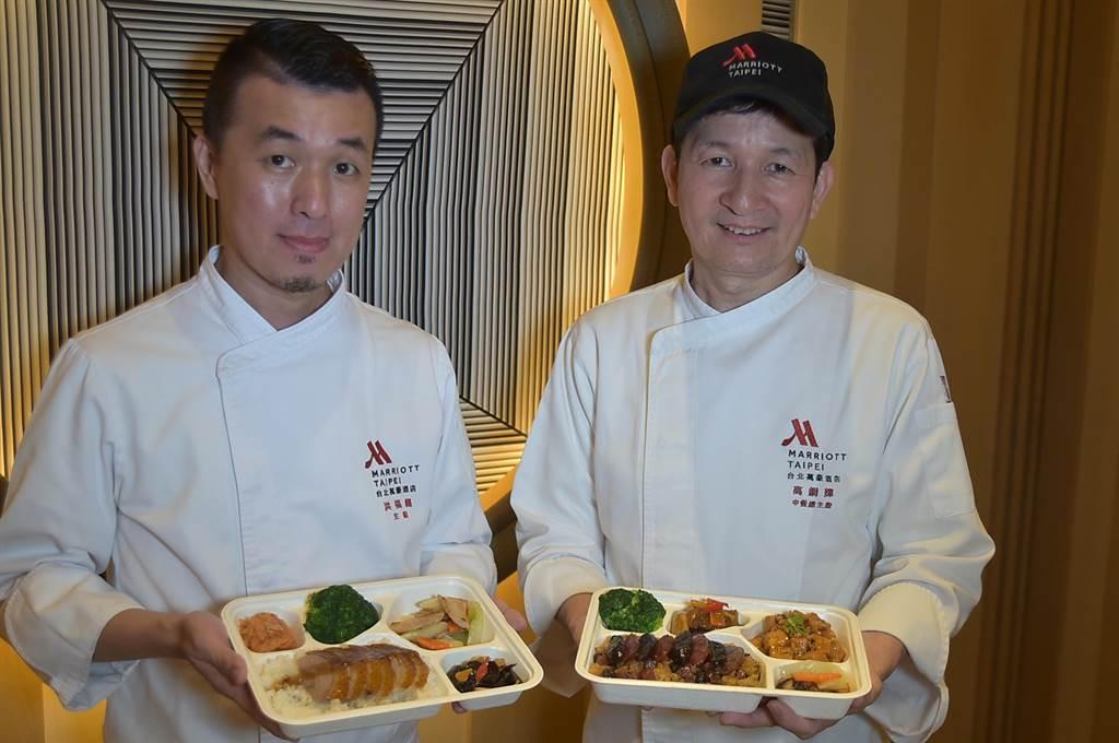 台北萬豪酒店〈宴會樓〉推出4人享用的「口福小宴〉,由國宴大廚高鋼輝(右)和主廚洪福龍共同掌杓。(圖/姚舜)