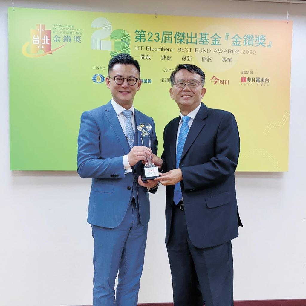 康和投顧董事長黎奕彬(左)與台北金融研究發展基金會董事長周吳添合影。圖/康和投顧提供