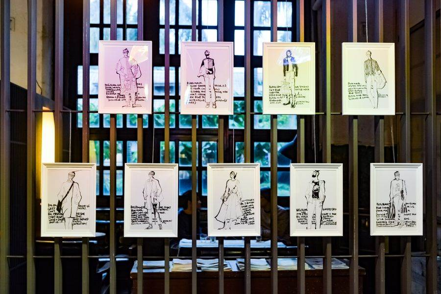 本次展覽以「口罩」為主題,分享設計師角度的生活觀察與結合口罩的時尚穿搭繪圖。(松山文創園區 提供)