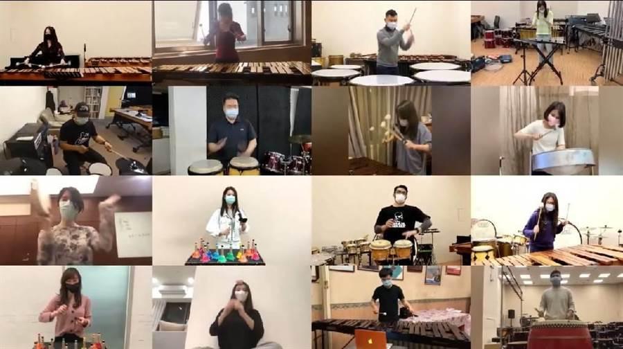 朱宗慶與樂團16位擊樂家各自在不同室內空間演奏,有位擊樂家更逗趣的戴髮捲入鏡。(摘自《抗疫者之歌》影片)