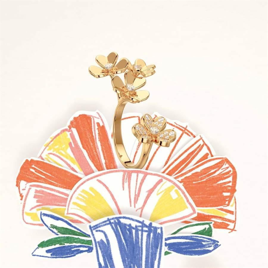 梵克雅宝Frivole系列珠宝登场,在新锐画家Alexandre Benjamin Navet的笔触下更添趣味。(Van Cleef & Arpels提供)