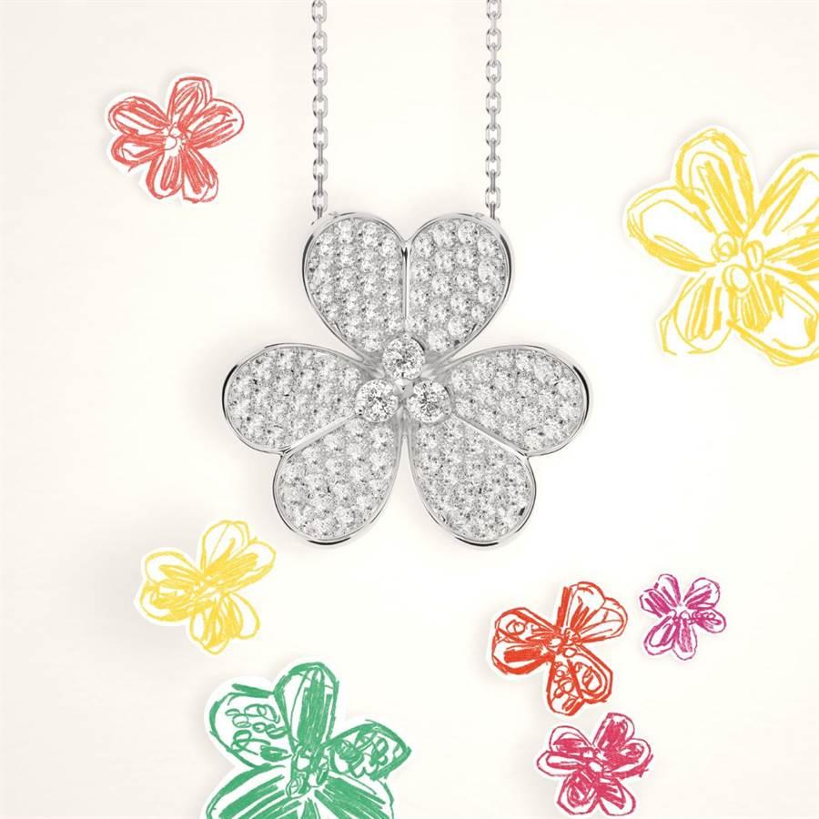 新锐画家Alexandre Benjamin Navet以粉彩手绘花朵诠释Frivole吊坠。(Van Cleef & Arpels提供)