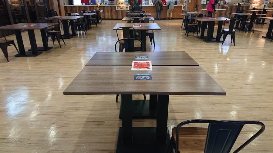 家乐福美食街客食区每1小时消毒桌椅与环境;顾客休息区减少用餐桌,并拉大各间隔1.5公尺。(家乐福提供)