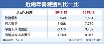 股債雙漲 壽險去年財報創三高