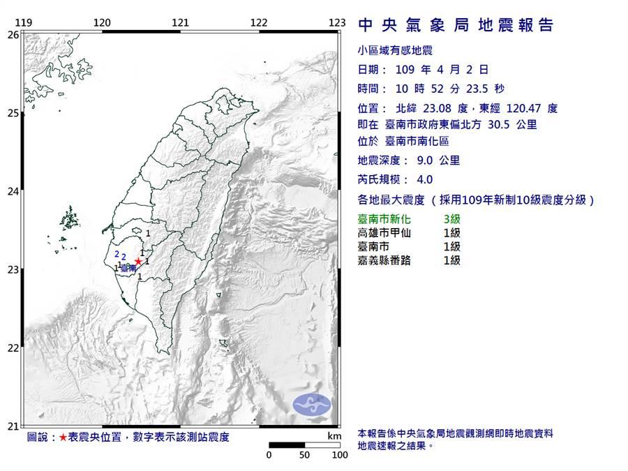 今(2)日上午10:52台南新化發生規模4.0有感地震。(圖擷自氣象局)