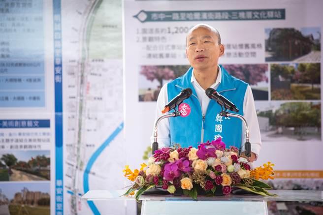 市長韓國瑜強調鐵路地下化園道工程完工後,將帶動高市休閒、觀光產業的成長。(袁庭堯攝)