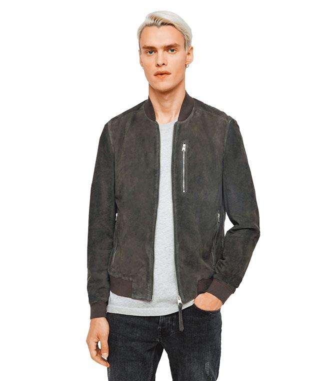 AllSaints Kemble素面拉鍊麂皮夾克,1萬8500元。(AllSaints提供)