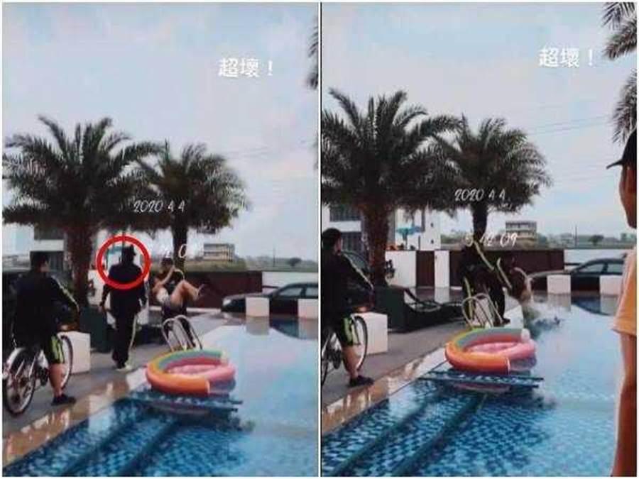 羅志祥(紅圈處)跟過去看大根把辣妹丟進泳池。(圖/翻攝自微博)