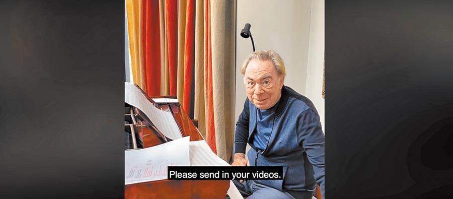 作曲家安德魯.洛伊.韋伯在臉書上和觀眾互動,邀請觀眾上傳演唱影片,和他一起演奏。(摘自安德魯.洛伊.韋伯臉書)