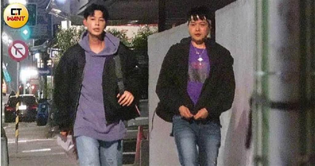 李易和Teddy下車後,步行到對面的酒店。(圖/本刊攝影組)