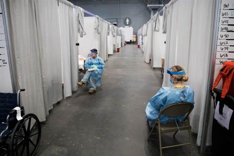 新冠肺炎來勢洶洶!美國紐約州成疫情中心!圖為紐約的另一處臨時醫療站。(路透社)