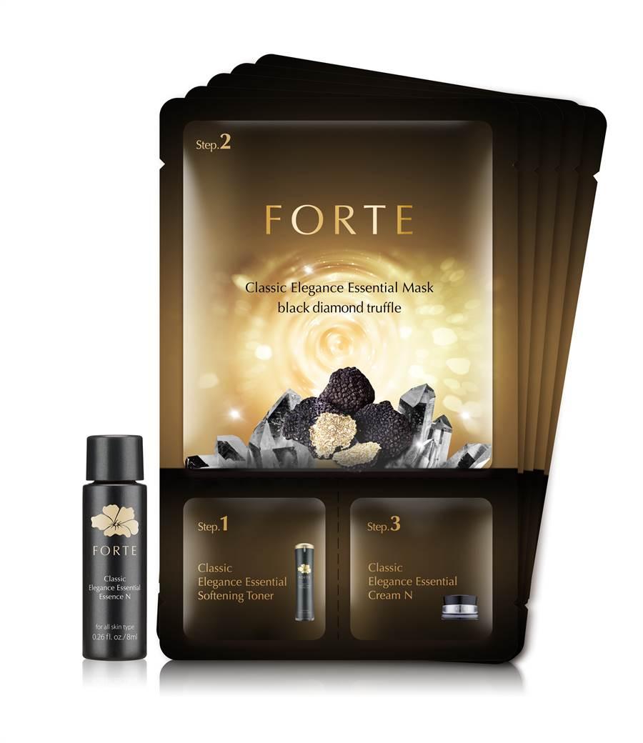 經典3效面膜組:買FORTE經典逆齡黑松露面膜5入組,贈送經典風華回齡精華液N 8ml,NT1,980元。(圖/品牌提供)
