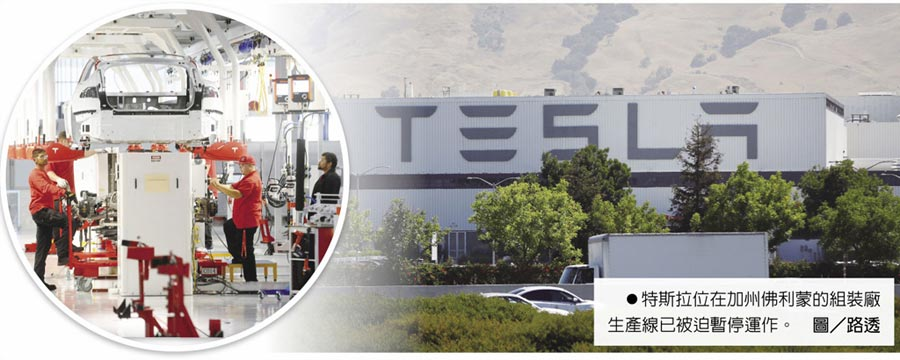 特斯拉位在加州佛利蒙的組裝廠生產線已被迫暫停運作。圖/路透