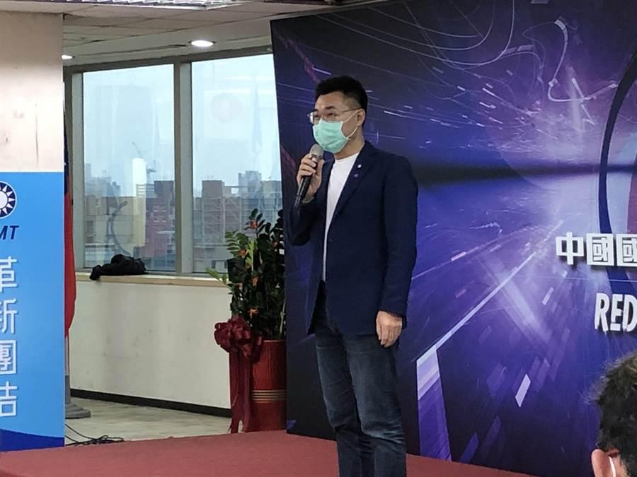 國民黨主席江啟臣今天參加數位行銷科技長決選。(趙婉淳攝)