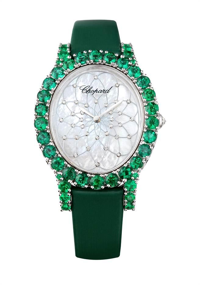 蕭邦永恆之鑽系列祖母綠鑽表,總重6.85克拉祖母綠,601萬7000元。(Chopard提供)