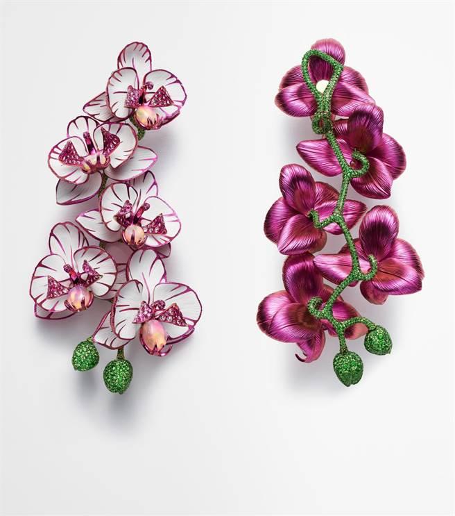 蕭邦Red Carpet系列鈦金屬蘭花耳環,鑲嵌鑽石、蛋白石、粉紅剛玉和沙弗萊石,正面反面皆美,2055萬元。(Chopard提供)