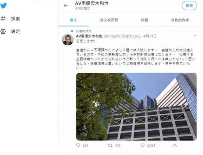 澤木和也日前在推特曬出一棟醫院的照片並寫著,自己罹患食道癌及下咽癌。(圖/推特)