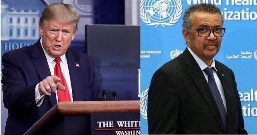 美國總統川普、世界衛生組(WHO)織秘書長譚德塞。(圖/合成圖,路透)