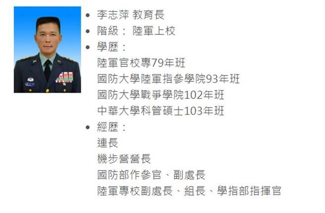 已婚的陸專上校教育長李志萍,被拍到載著小他21歲的女上士輔導長進摩鐵3小時,陸軍司令部震怒。(照片截自陸軍專科學校官網)