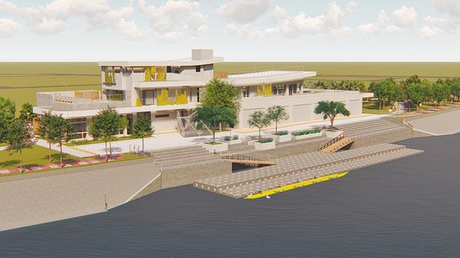 台南市首座嘉南大圳水上運動訓練中心示意圖,以綠建築等級中最高等級的「鑽石級」規畫。(台南市教育局提供/曹婷婷台南傳真)