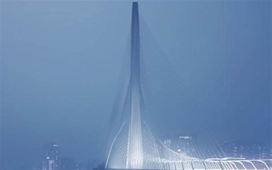 淡江大橋為首位獲得普立茲克建築獎女性建築師扎哈.·哈迪德遺作,為台灣首件、也是唯一件扎哈.哈迪德作品。圖為淡江大橋示意圖。(公路總局提供/王莫昀台北傳真)