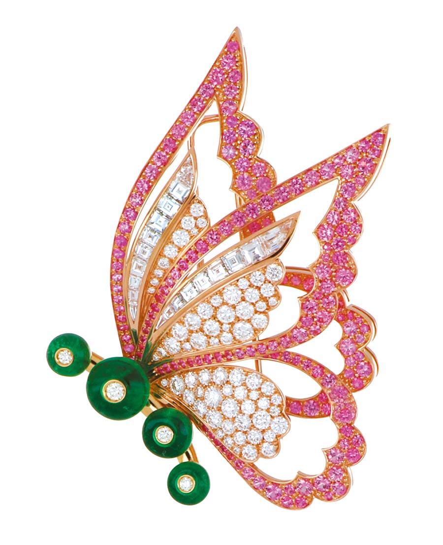 BVLGARI CINEMAGIA系列Fairy Wings頂級彩寶胸針。(BVLGARI提供)