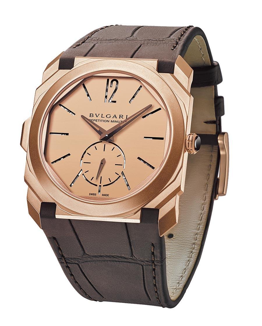 BVLGARI OCTO FINISSIMO MINUTE REPEATER噴砂玫瑰金超薄三問腕表,約560萬元。(BVLGARI提供)