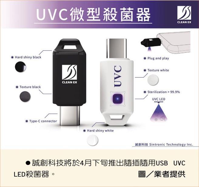 誠創科技將於4月下旬推出隨插隨用USB UVC LED殺菌器。圖/業者提供