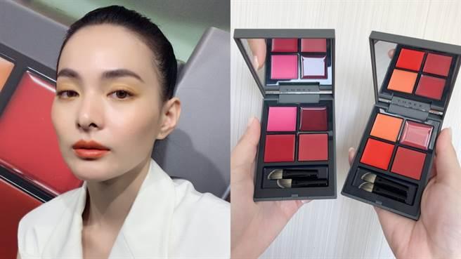 THREE流金盛夏唇采盒,模特兒使用色為X01 I′M GAME。(圖/邱映慈攝影)