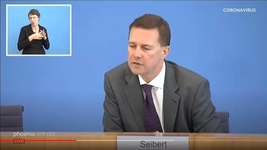 德國政府發言人賽貝特(Steffen Seibert)絕口不提台灣,僅表示「感謝其他國家」帶過,引起德媒不滿 (圖/影片截圖)
