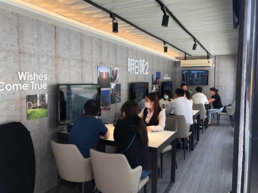 「明日城2」於今年2月中即用臨時貨櫃屋改裝成接待中心先進場潛銷,在1期熱銷且住戶已進駐之下,更增添購屋人信心。(圖/業者提供)