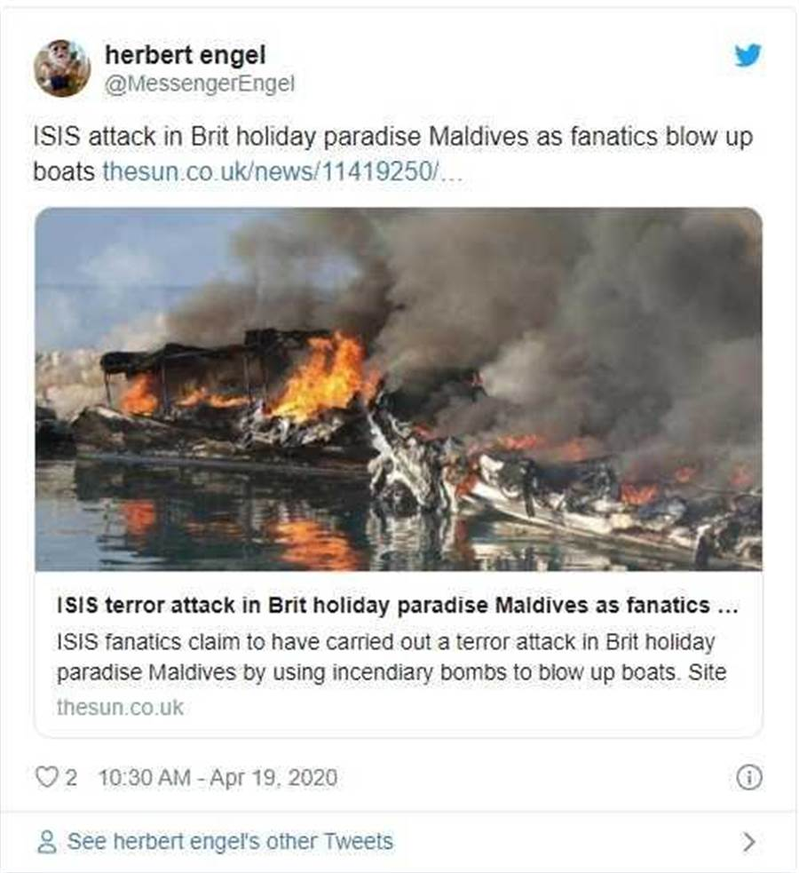 馬爾地夫15日驚傳有IS聖戰士在當地港口發動恐怖攻擊,用汽油彈炸毀5艘船,事後承認犯案,明確指出目標為「馬爾地夫政府與其效忠者」。(圖/推特 @herbert engel)