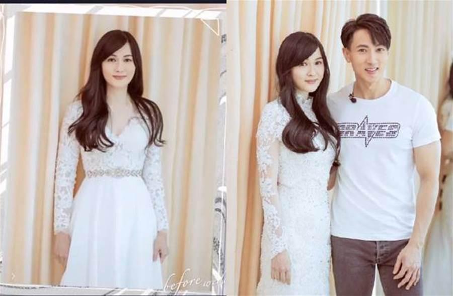 林麗瑩換上白紗超美,胸口深V和手臂的蕾絲設計,讓她的好身材全都露。(圖/取材自婚前21天微博)