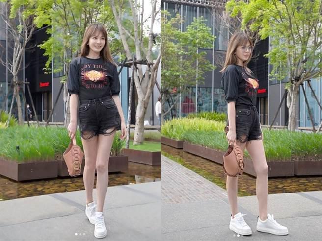 Melody殷悅熱褲美腿白皙又勻稱。(圖/IG@ melodykliu)