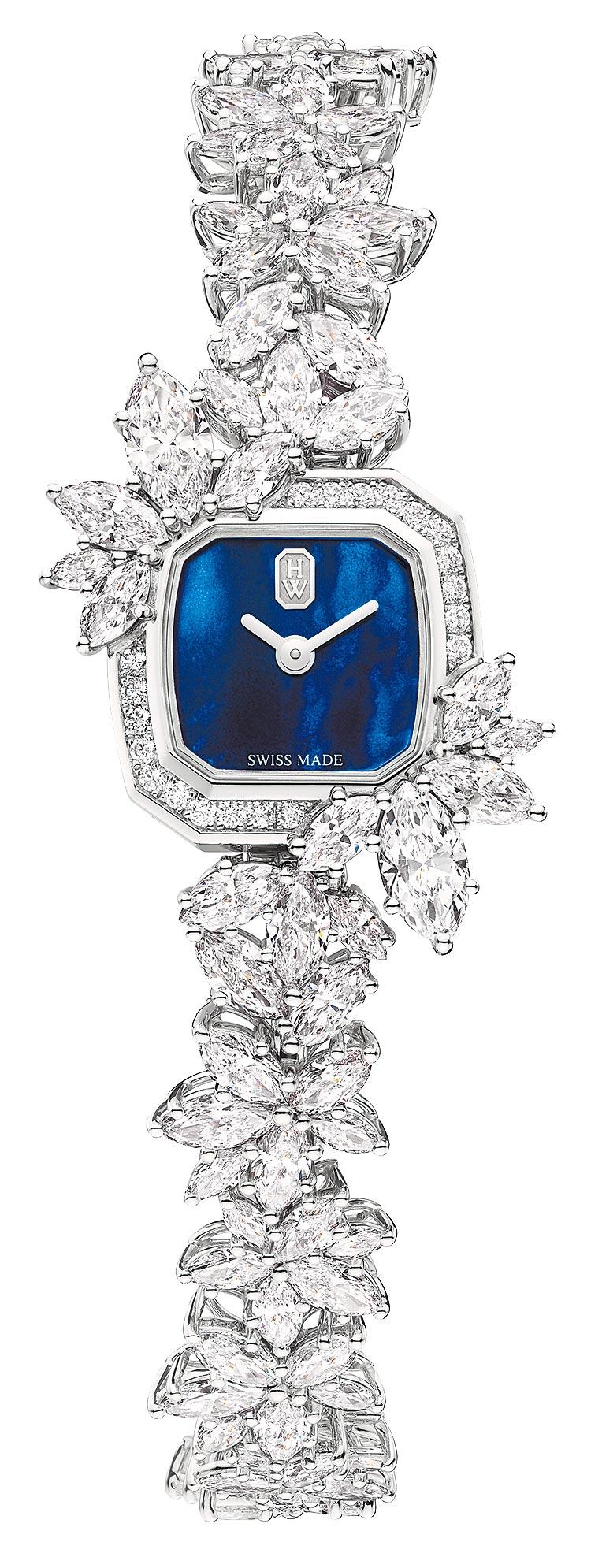 海瑞溫斯頓Precious Emerald鑽表,藍色珍珠母貝表盤,約992萬元。(Harry Winston提供)