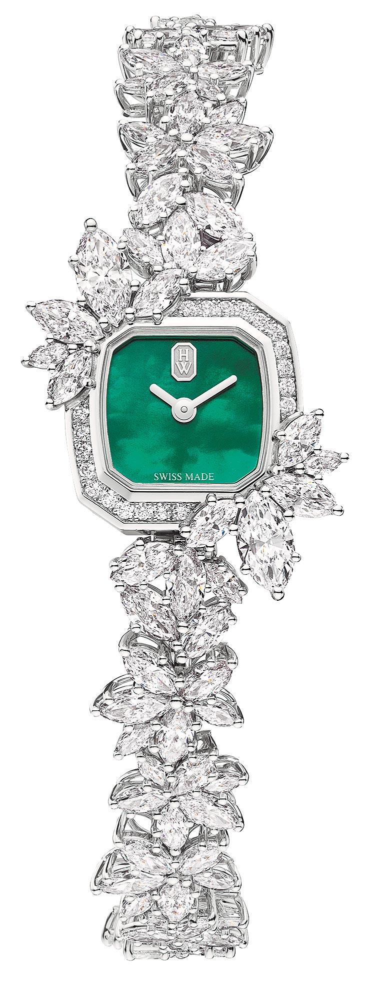 海瑞溫斯頓Precious Emerald鑽表,綠色珍珠母貝表盤,約992萬元。(Harry Winston提供)