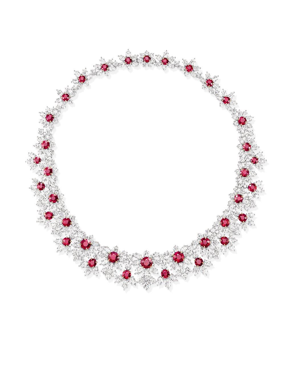海瑞溫斯頓凝世風華Incredibles系列錦簇鑲嵌紅寶石鑽石項鍊,約5700萬元。(Harry Winston提供)