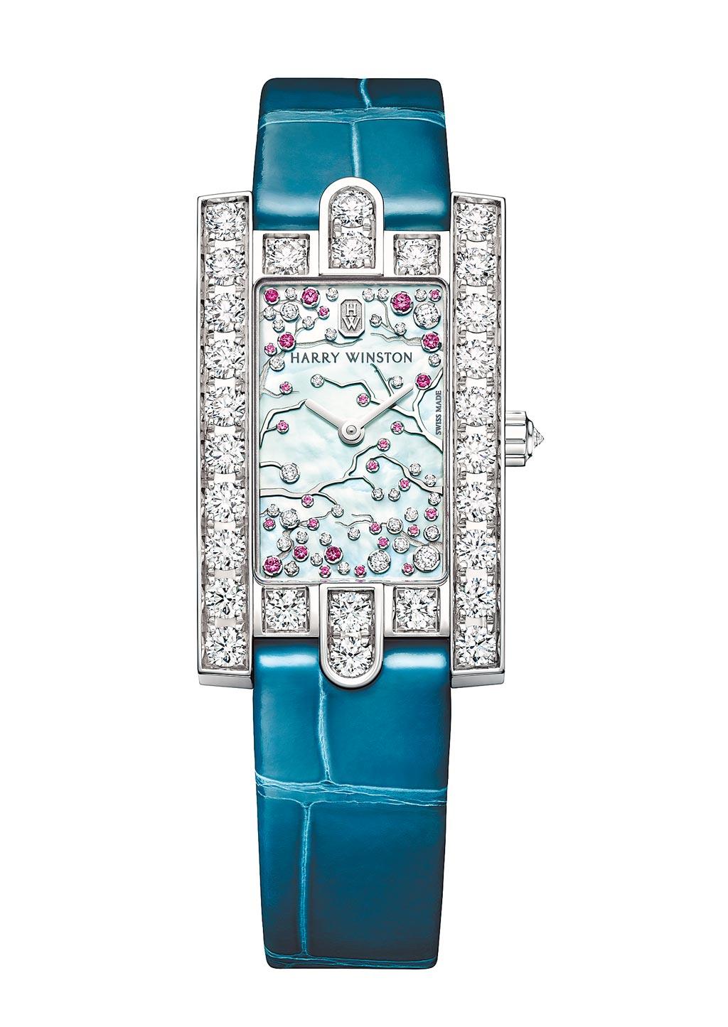 海瑞溫斯頓第五大道Avenue Classic系列Cherry Blossom腕表,約128萬元。(Harry Winston提供)
