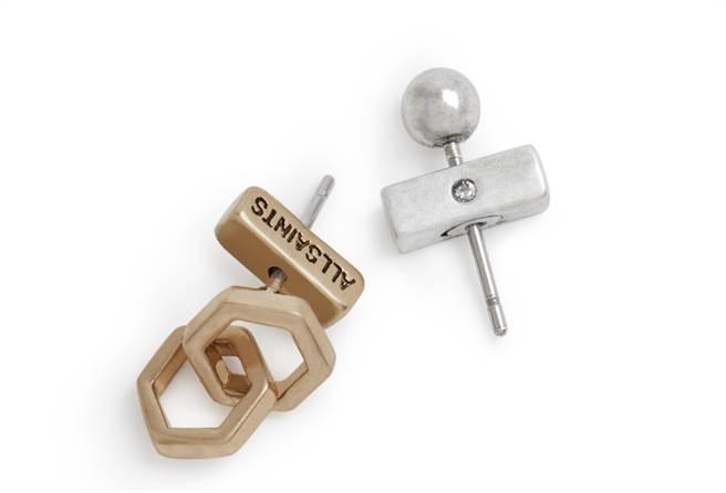 AllSaints 六角造型不對稱針式耳環組,1400元。(AllSaints提供)