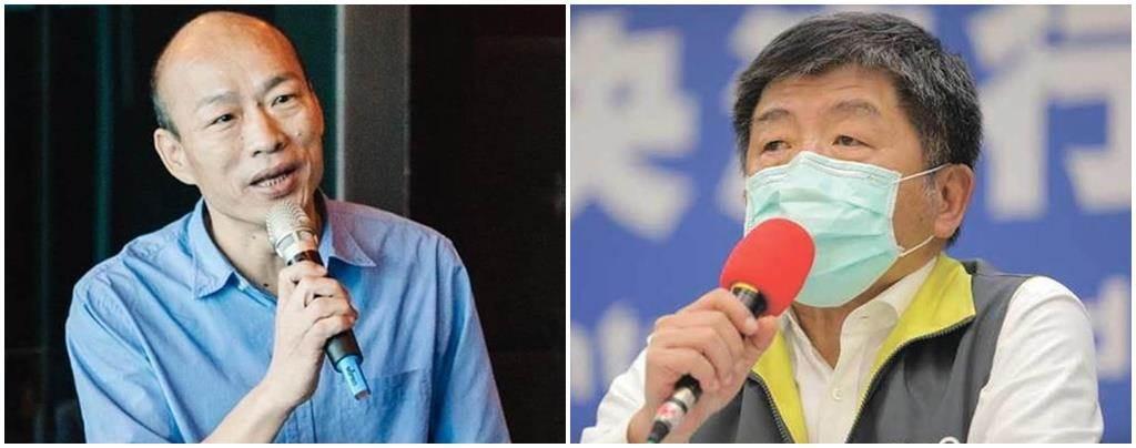高雄市長韓國瑜(左)、衛福部長陳時中(右)。(中時資料照、中央流行疫情指揮中心提供)