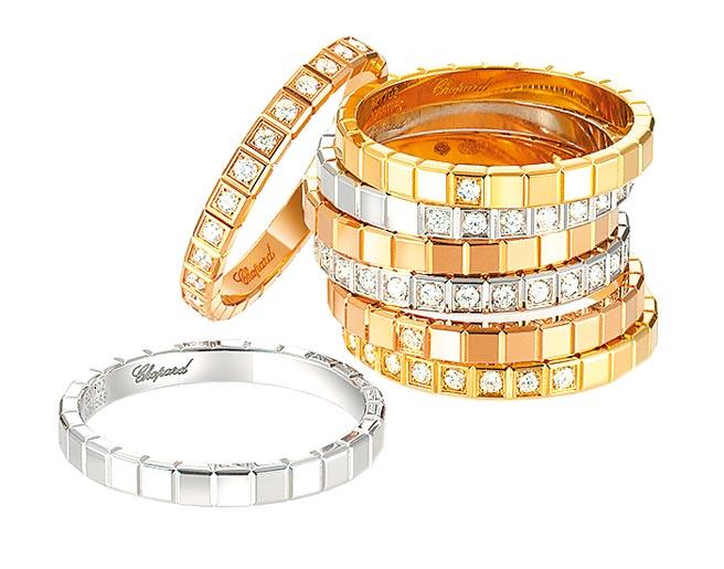 蕭邦Ice Cube系列戒指,有白K金、K金、玫瑰金等多種款式,2萬9000元起。(CHOPARD提供)