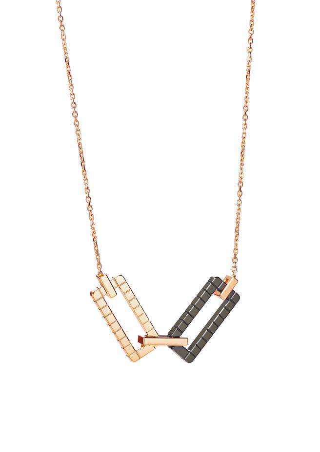 蕭邦Ice Cube Rock玫瑰金陶瓷項鍊,採用公平採礦認證的玫瑰金,11萬3000元。(CHOPARD提供)