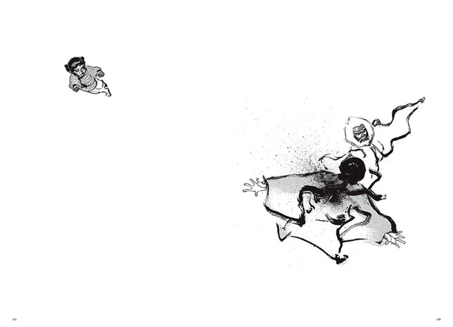 還是小孩的何勿生,親眼目睹生父被刺殺,雖是黑白漫畫,但鄭問以大幅留白,更顯人物張力。(大辣出版社提供)