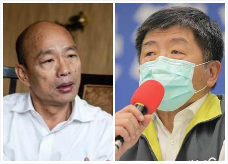 高雄市長韓國瑜(左)、衛福部長陳時中(右)。